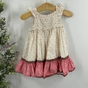 babyGap | Smocked Peasant Dress, Cream & Pink